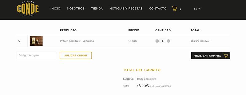 Finalizar compra. Comprar patatas gallegas online